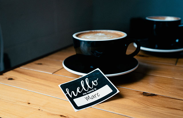 Coffee Cup and Name tag